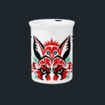 """Pacific North Coastal Native American Indian Fox Drink Pitcher<br><div class=""""desc"""">This illustrated product features a fox graphic inspired by Coastal Native American art of the Pacific Northwest.  This original fox illustration includes many hidden animals and would make a great gift.</div>"""