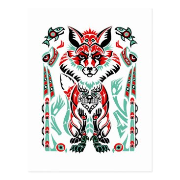 SwansonIllustration Pacific North Coastal Native American Indian Fox Postcard
