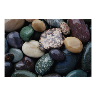Pacific Northwest USA, Colorful river rocks Poster