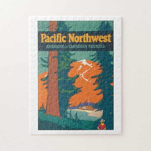 Pacific Northwest Vintage Travel Poster Artwork Jigsaw Puzzle
