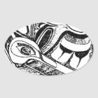 Pacific NW Coast Native Totem Raven and Seagull Oval Sticker