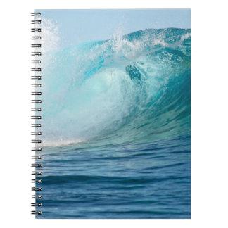 Pacific ocean big wave breaking spiral notebook