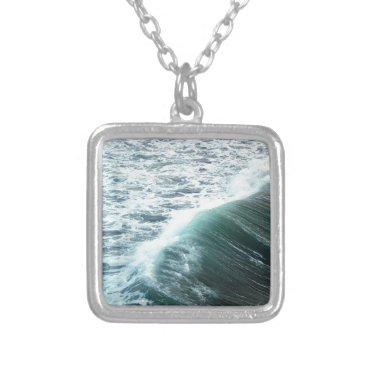 Beach Themed Pacific Ocean Blue Silver Plated Necklace