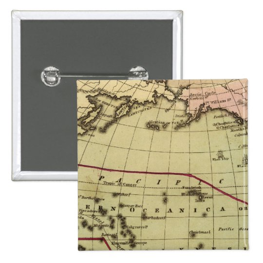 Pacific Ocean Hand Colored Atlas Map Pinback Button