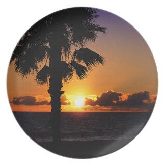 Pacific Ocean Sunset Melamine Plate