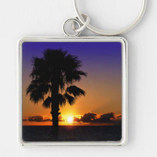 Pacific Ocean Sunset Silver-Colored Square Keychain