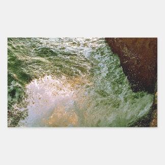 PACIFIC OCEAN WAVES BREAKING OF THE ROCKY COAST RECTANGULAR STICKER
