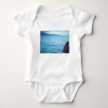 Beach Themed pacific pelican baby bodysuit