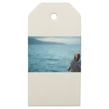 Beach Themed pacific pelican wooden gift tags