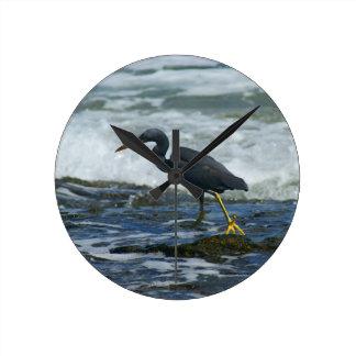 Pacific Reef Heron Round Clock