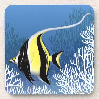 Pacific Reef Moorish Idol Fish Cork Coaster