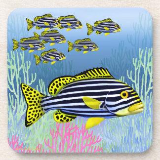 Pacific Reef Oriental Sweetlips Fish Cork Coaster
