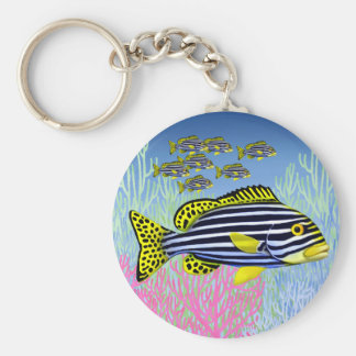 Pacific Reef Oriental Sweetlips Fish Keychain