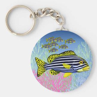 Pacific Reef Oriental Sweetlips Fish Keychain