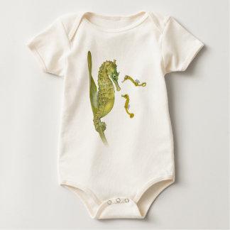 Pacific Seahorse Family Organic Baby Bodysuit