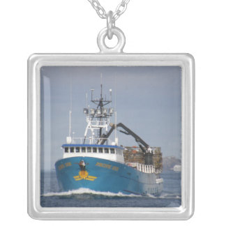 Pacific Sun, Crab Boat in Dutch Harbor, AK Silver Plated Necklace