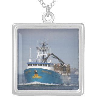 Pacific Sun, Crab Boat in Dutch Harbor, AK Square Pendant Necklace