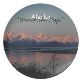 Pacific Sunset; Alaska Souvenir Dinner Plate