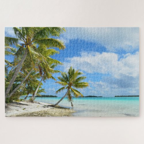 Pacific tropical beach with palm tree jigsaw puzzle
