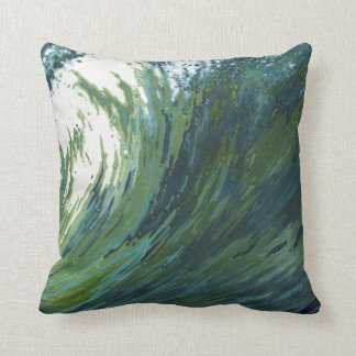 Pacific Wave Blue, Green & Grey Fabric Pillow