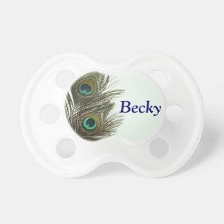 Pacificador adaptable del bebé de la pluma del pav chupete de bebe