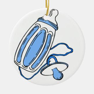 pacificador azul de la botella del muchacho adorno redondo de cerámica