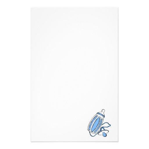 pacificador azul de la botella del muchacho papeleria de diseño