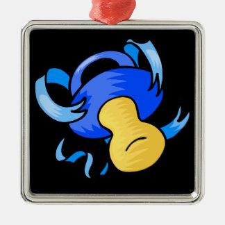 pacificador azul adorno cuadrado plateado