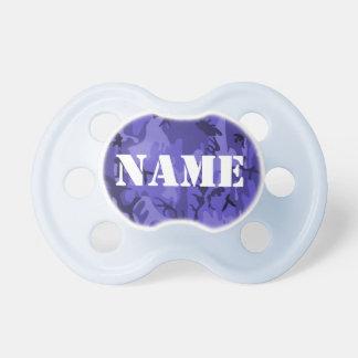 Pacificador azul del camuflaje del nombre capaz de chupetes para bebes