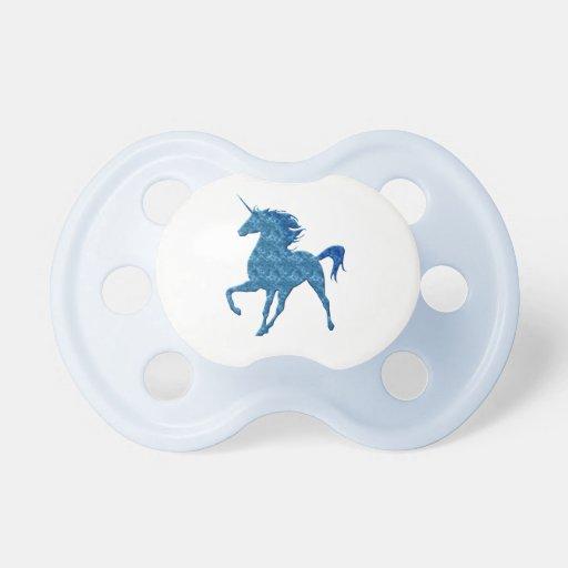 Pacificador azul del unicornio del fuego chupete de bebé