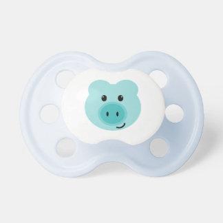 Pacificador azul lindo del cerdo chupetes de bebe