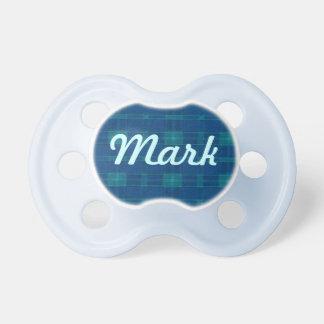 Pacificador azul personalizado de la tela escocesa chupete de bebé