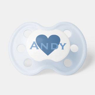 Pacificador azul personalizado del corazón chupetes de bebe