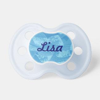 Pacificador azul personalizado del vidrio de la chupete de bebe