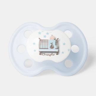 Pacificador/bebé personalizados en pesebre con el chupetes para bebés