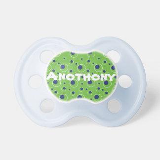 Pacificador de encargo del bebé de los puntos verd chupetes para bebés