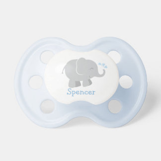 Pacificador de encargo del bebé elefante azul y chupete de bebe