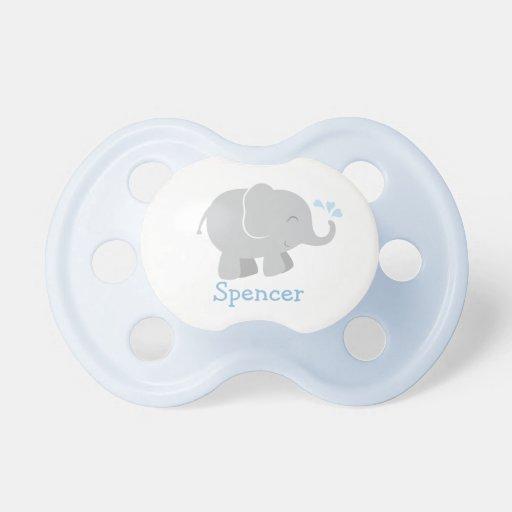 Pacificador de encargo del bebé elefante azul y gr chupete de bebe
