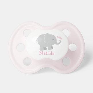 Pacificador de encargo del bebé elefante rosado y chupetes de bebé
