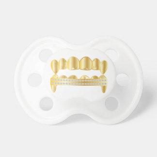 Pacificador de Grillz del oro Chupete De Bebé