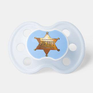 Pacificador de la insignia del sheriff (en 2 chupete de bebe