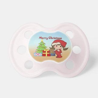 Pacificador de la niña pequeña del navidad chupetes para bebes