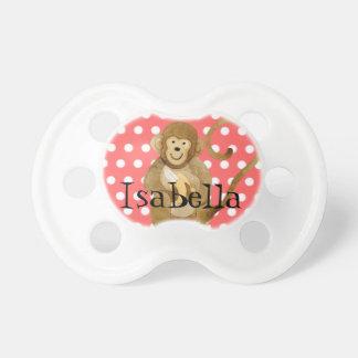 Pacificador de la niña - pequeño lunar del mono chupetes para bebes