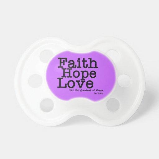 Pacificador del amor de la esperanza de la fe chupetes para bebes