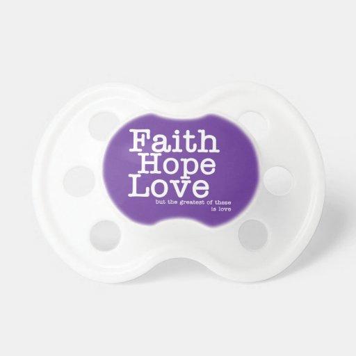 Pacificador del amor de la esperanza de la fe chupetes para bebés
