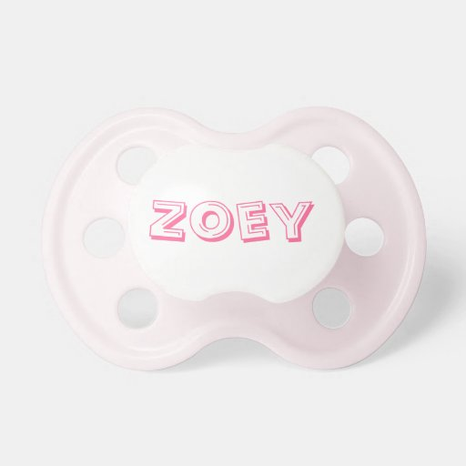Pacificador del bebé con el Zoey conocido Chupetes