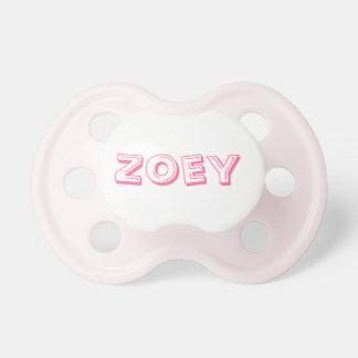 Pacificador del bebé con el Zoey conocido Chupetes Para Bebés