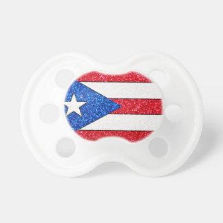 Pacificador del bebé de la bandera de Puerto Rico Chupetes