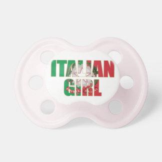 Pacificador italiano del niño del chica chupete