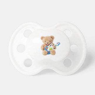 Pacificador lindo de la guitarra del oso de peluch chupetes para bebés